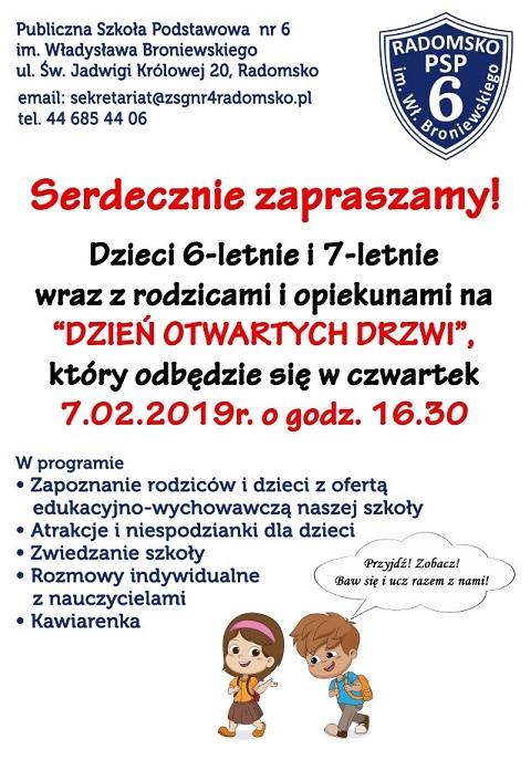 Zaproszenie Na Dzień Otwartych Drzwi Publiczna Szkoła Podstawowa